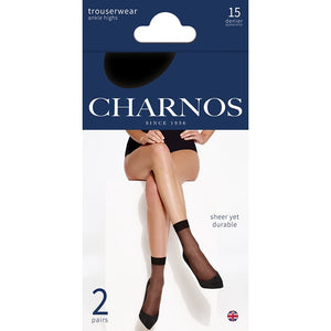 Charnos Black Ankle Highs | 15 Denier | packaging