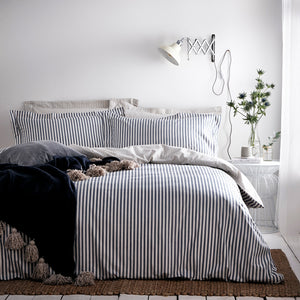 Navy and white stripe 100% cotton reversible duvet set