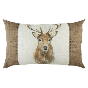 rectangular cushion featuring a hessian print and watercolour effect stag
