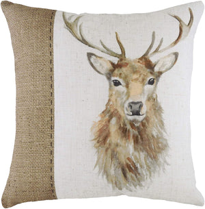 square cushion featuring a hessian print and a stunning watercolour effect stag.