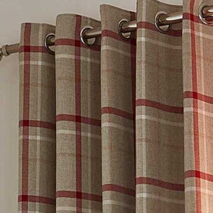 Hudson Woven Red Check Curtains 100% Polyester