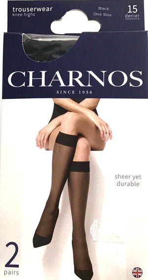 Knee Highs BLACK 15 Denier 2 pack.