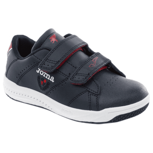 Navy leather runner shoe from Joma with red detailing and two velcro straps