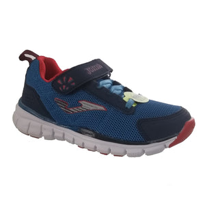 Navy and blue lightweight runners from Joma with red details, featuring a velcro strap and bungee lace