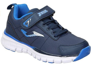 navy and blue runners with velcro strap and bungee lace