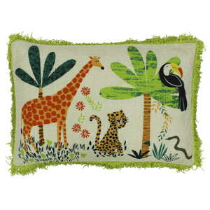 Rectangular cushion from Little Big Cloud featuring a colourful jungle scene with a fun green fringe trim