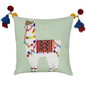 Soft green cushion cover from Little Big Cloud featuring a cute and colourful llama and fun pom pom details.
