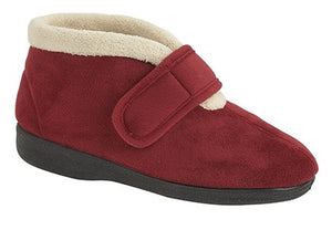 Copper Red Raised Ladies Velcro Slippers with a Fur Trim