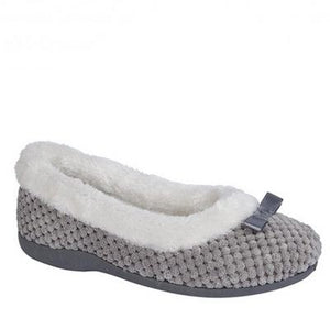 Ladies Slippers with White Faux Fur Trim