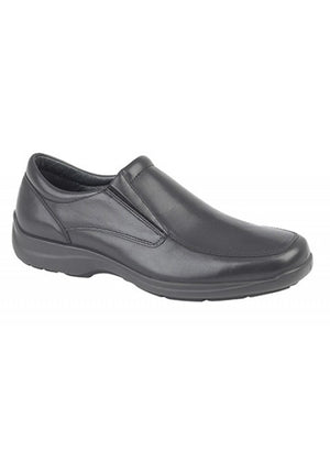 Black slip on leather mens shoe