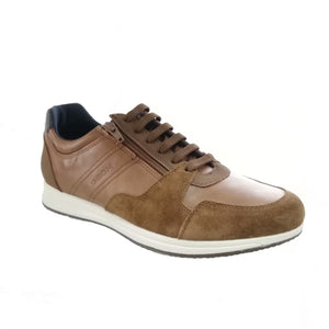 Geox Brown Leather Men's Shoes with Suede Details