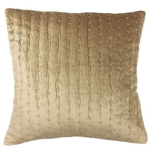 A luxurious champagne cushion filled with soft feathers