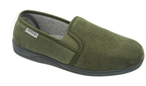 Khaki Green Mens Slippers with Rubber Sole