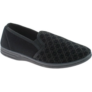 Soft Black Men's Slippers with a Rubber Sole