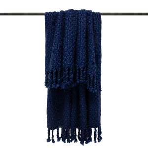 navy chunky knit throw with tassles
