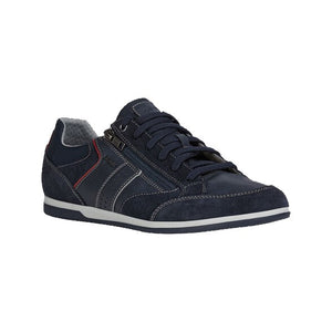 navy-blue suede casual lace shoe