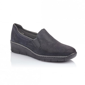 Women's navy slip on shoe from Rieker with elasticated fitting.