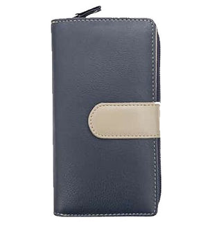 Navy and taupe soft leather purse front view