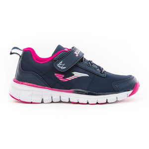 navy and pink runners with velcro strap and bungee lace