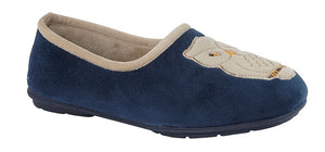 navy blue slippers with beige trim and beige owl patch