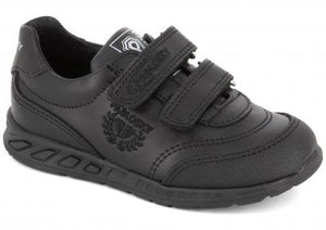 Black School Boys Shoes with a Rubber Sole and Velcro Fastening