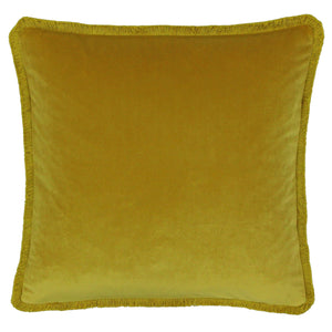 Ochre square cushion cover with short fringe trim