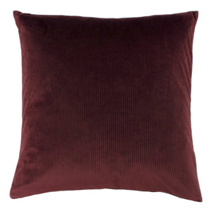 oxblood ribbed velvet cushion