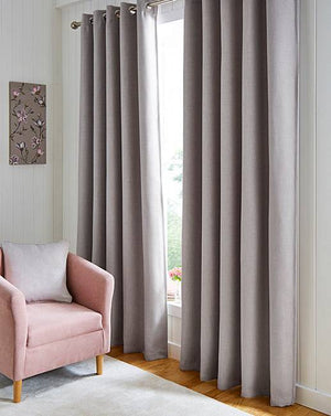 Hugo Grey Blackout Woven Ring Top Curtains