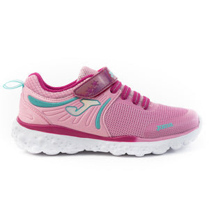 Pink lightweight runners with teal details featuring a holographic pink velcro strap and bungee lace