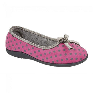 Pink Polka Dot Ladies Slippers with a Bow Detail