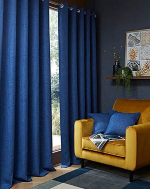 Hugo Navy Woven Blackout Ring Top Curtains