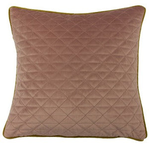 Blush pink cushion with triangular pattern and gold piping detail