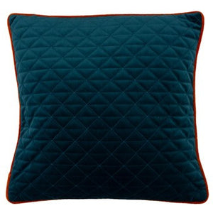 Teal blue cushion with triangular pattern and orange piping detail
