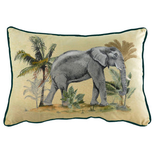 Rectangular cushion featuring beautiful illustrations of an elephant and jungle greenery set against a sandy background with a contrasting dark trim.