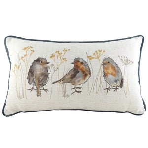 Beautiful rectangular cushion with a linen effect and blue piping featuring 3 painted robins.