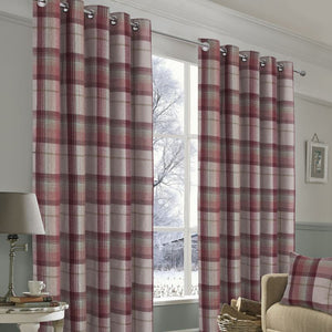 Warrington Red Plaid Lined Ring Top Curtains