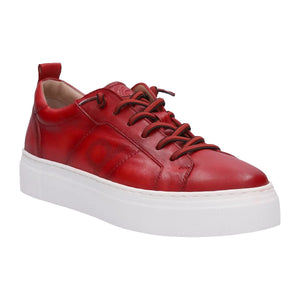 laced red leather shoes with a chunky white platform sole