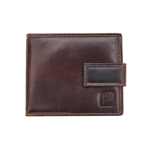 Brown leather wallet with tab close