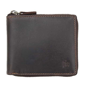 Brown leather wallet with metal zip closed