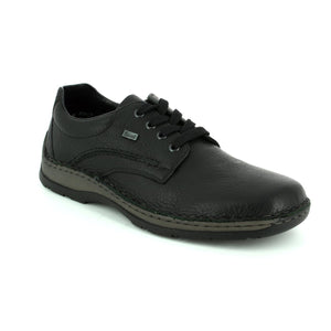 Black laced waterproof leather shoe with wide fit.
