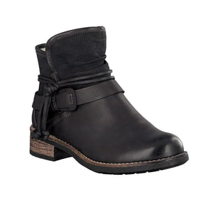 black fleece lined ankle boot with rope and buckle detailing