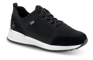black waterproof runners with white sole