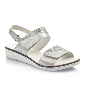Rieker Metallic Silver Velcro Ladies Sandals