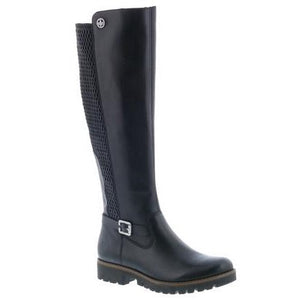 black high leg boots with silver buckle detail and stretch back panel