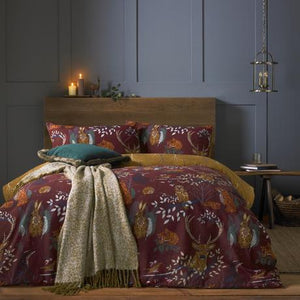wine red duvet set with forest animals