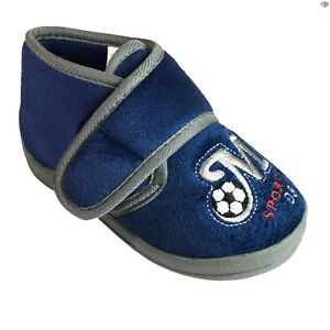 Navy velcro boot slipper with embroidered M Sports 08 and football.