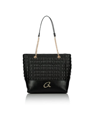 black shoulderstrap handbag with chain strap