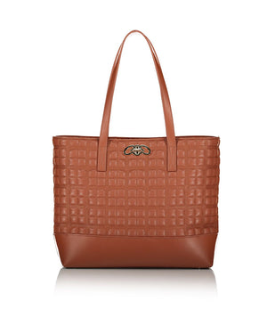 Beautiful quilted shoulder bag in tan faux leather with gold hardware.