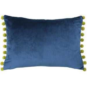 Rectangular cushion in a beautiful teal blue colour with a golden olive colour pom pom trim on the short sides