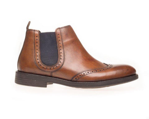 mens pull on boot in tan leather